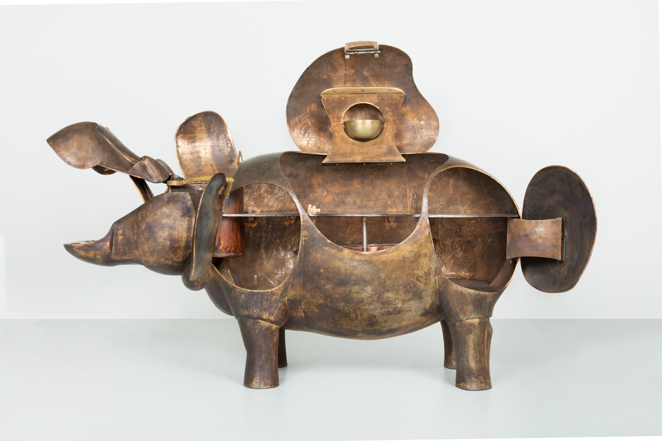 François-Xavier Lalanne, Hippopotame II (bar), 1976, bronze, stainless steel, copper, and wood, 41 3/8 x 78 3/4 x 16 1/2 inches, 105 x 200 x 42 cm.