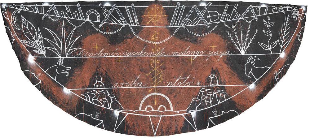 "José Bedia Valdés, ""Kindembo Sarabanda Malongo Yaya Arriba Ntoto"" 2009. Acrylic on canvas, 182 x 464 cm."