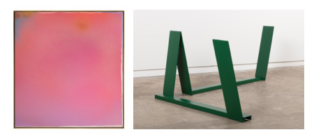 (Left) Jules Olitski,  Pink Hoodoo , 1965, acrylic on canvas, spray. 56 x 52 inches. 142.2 x 132.1 cm. Photo by: Christopher Stach / Paul Kasmin Gallery © The Estate of Jules Olitski/ Licensed by VAGA, New York. (Right) Anthony Caro,  Green Sleeper , 1965, painted steel. 12 x 58 x 43 inches. 30.5 x 147.3 x 109.2 cm Photo by: Christopher Stach / Paul Kasmin Gallery. © 2017 Anthony Caro