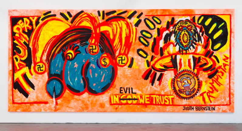 Judith Bernstein, In Evil We Trust, 2017, acrylic and oil on canvas, 105 x 240 inches, 266.7 x 678 cm © Judith Bernstein.
