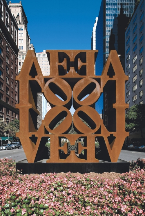 "Robert Indiana, ""LOVE WALL,"" 1966 – 2006, Cor-ten steel, Installation view, Park Avenue and 57th Street, New York, Spring, 2008.  Photo:  Christopher Burke Studio. Artwork © 2017 Morgan Art Foundation / Artists Rights Society (ARS), New York."