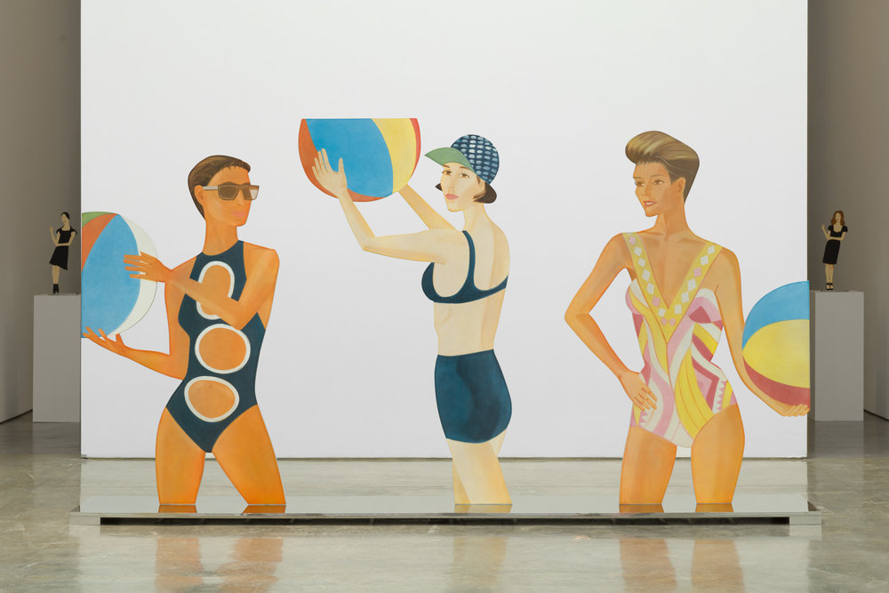 Installation photo by Diego Flores, Courtesy of Paul Kasmin Gallery. Alex Katz,  CHANCE , 2016, porcelain enamel on shaped steel (double-sided figures) mounted on a polished stainless steel base, 78 1/2 x 142 x 21 inches, 199.4 x 360.7 x 53.3 cm, Edition 6. Art © Alex Katz/Licensed by VAGA, New York, NY.