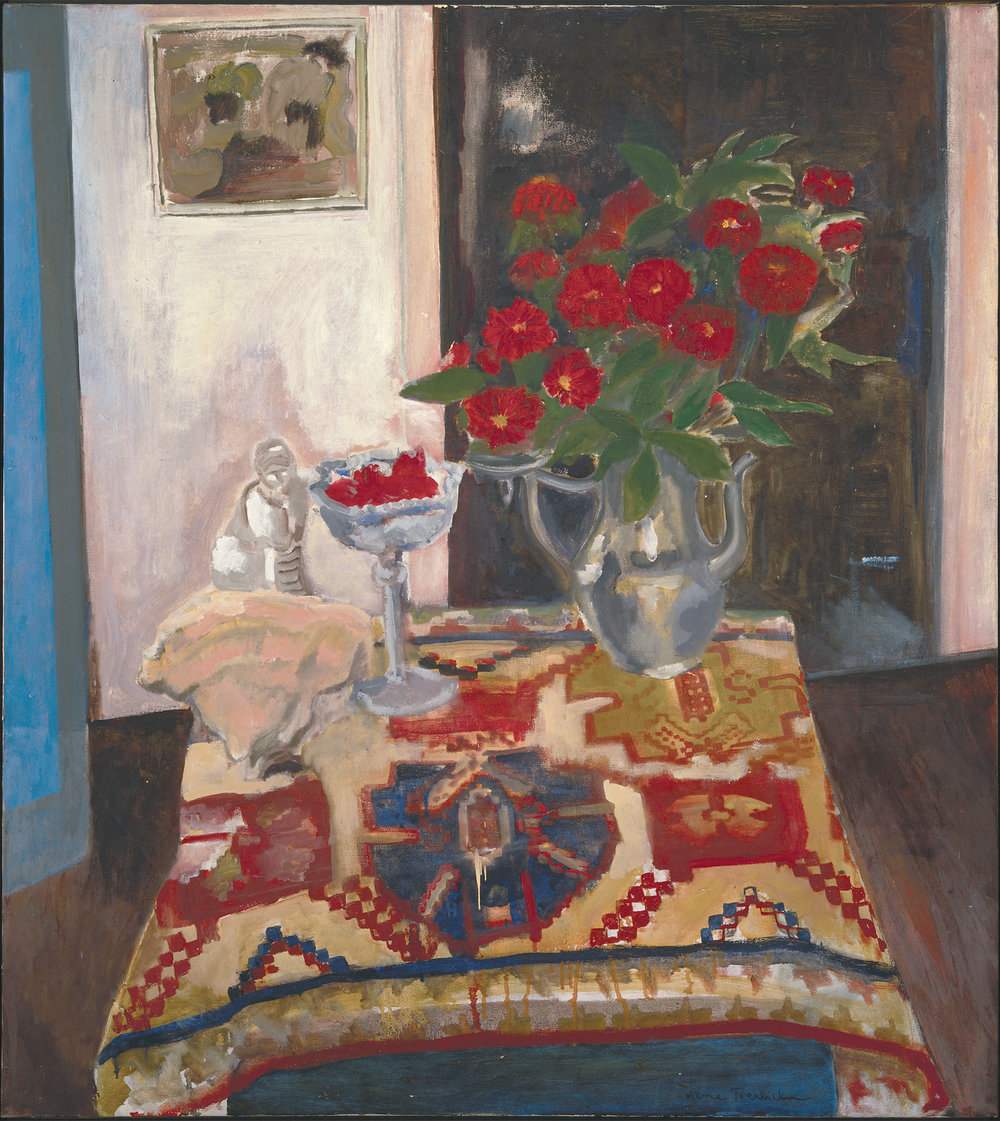 Jane Freilicher, Still Life (Persian carpet), 1955, oil on linen, 40 x 36 inches, 101.6 x 91.4 cm. Courtesy the estate of Jane Freilicher and Paul Kasmin Gallery.