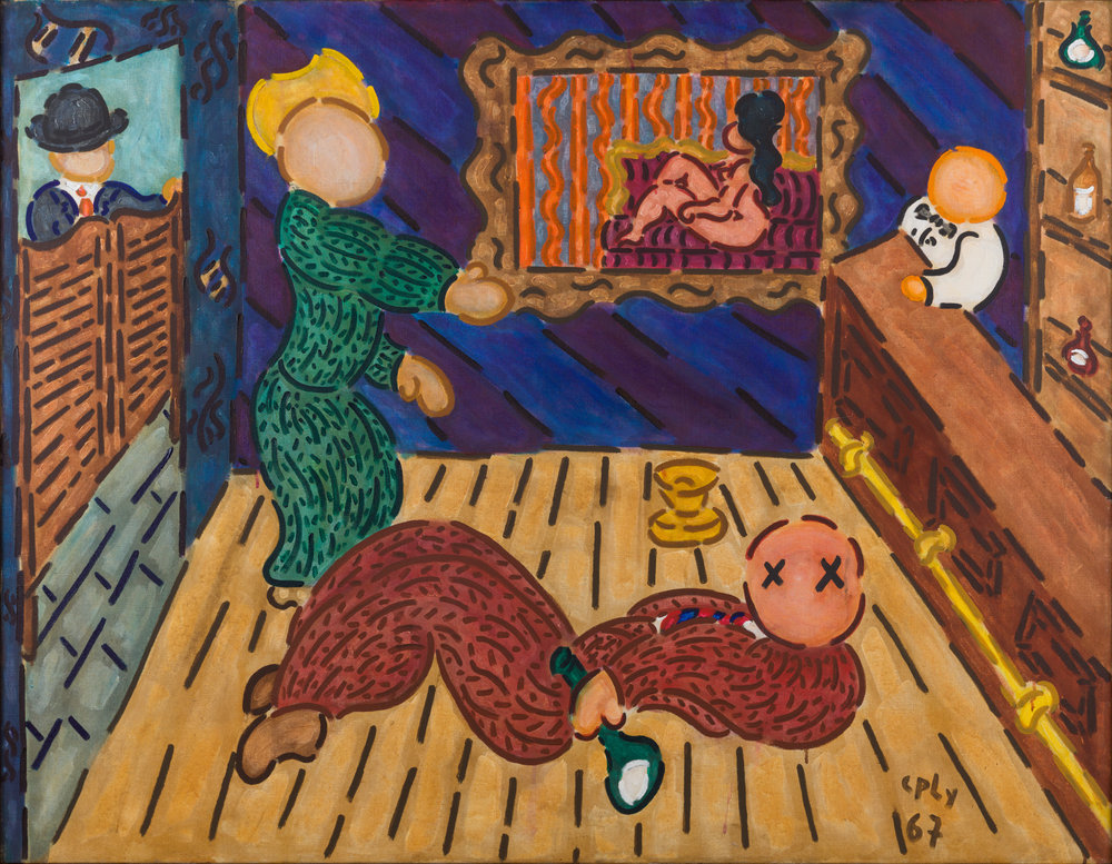 """William N. Copley, """"The Cow-juice Cure,"""" 1967, acrylic on linen, 45 x 58 inches, 114.3 x 147.3 cm. Courtesy of Paul Kasmin Gallery"""