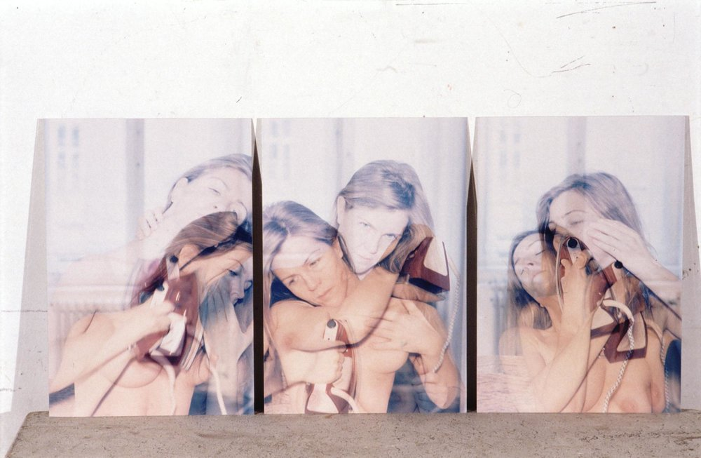 Abbildung Schumann,  Claudia Schumann,   OBERFLAECHEN DES SELBST ALS ERFAHRUNG , 2000, C-Prints on aluminum, analog multiple exposure, 3 pieces at 11.8 x 7.9 inches (30 x 20 cm) each. Courtesy of the artist and Galerie Jünger