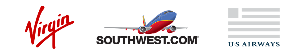 Noticehow the font of these three airlines logos helps convey information about each distinct brand