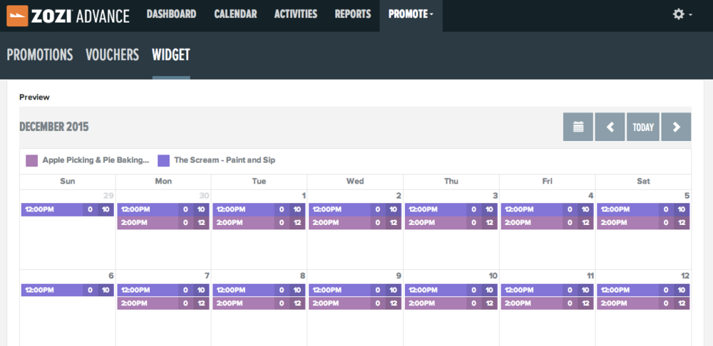 Embedded booking calendar with listing