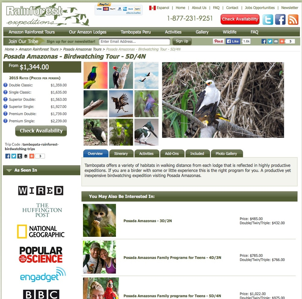 Rainforest Expeditions' Website