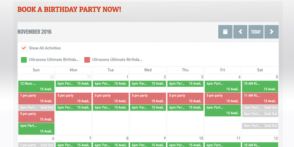 Ultrazone makes it easy for guests to book a birthday party online.