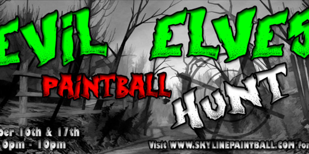 Skyline Paintball hosts a number of themed and seasonal events, like their Evil Elves Paintball Hunt and Halloween Zombie Shoot.