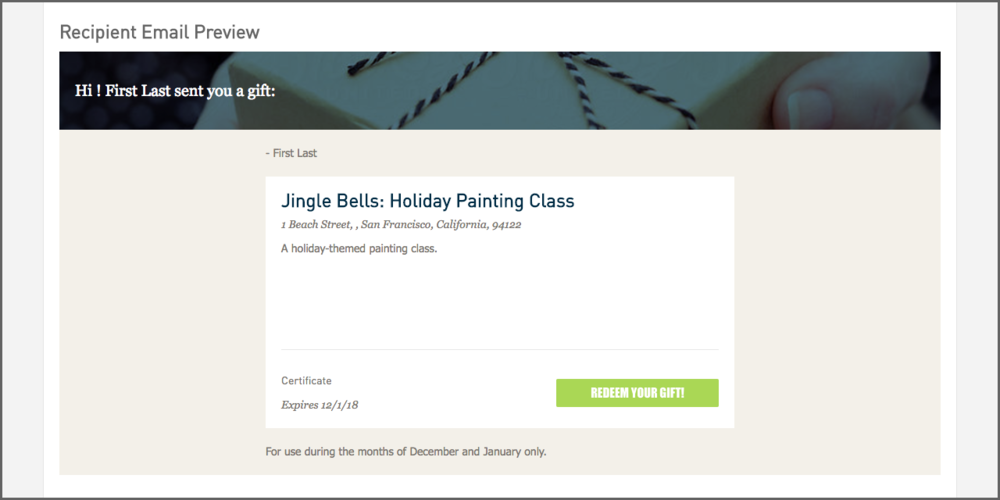 "3. Under the ""emails"" tab, you'll see a preview of the gift card email that customers will send to their recipients."