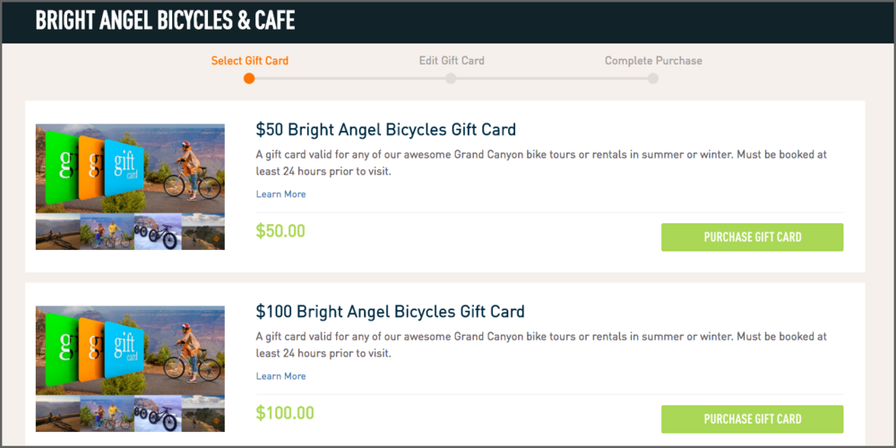 Our friends at Bright Angel Bicycles do a great job showcasing their activities on their gift cards with personalized graphics.