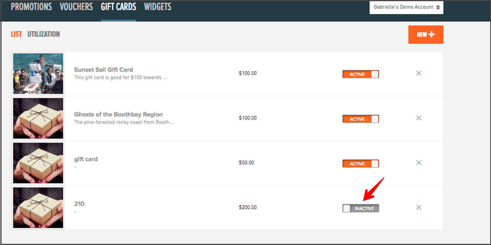"4. To make sure customers can book the gift card, check the ""Activate"" button on the ""Gift Cards"" List page."