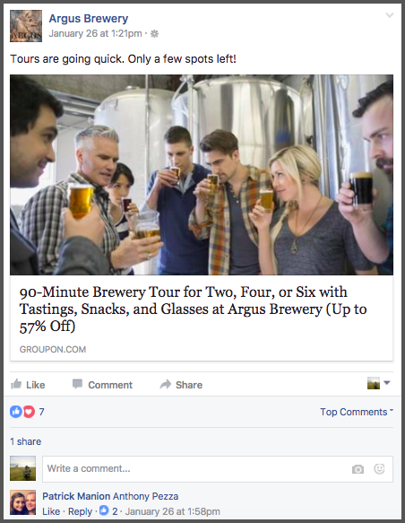Our friends at Argus Brewery do a great job of using Twitter and Facebook to update customers on tour availability throughout the week. Doesn't this make you thirsty for beer?