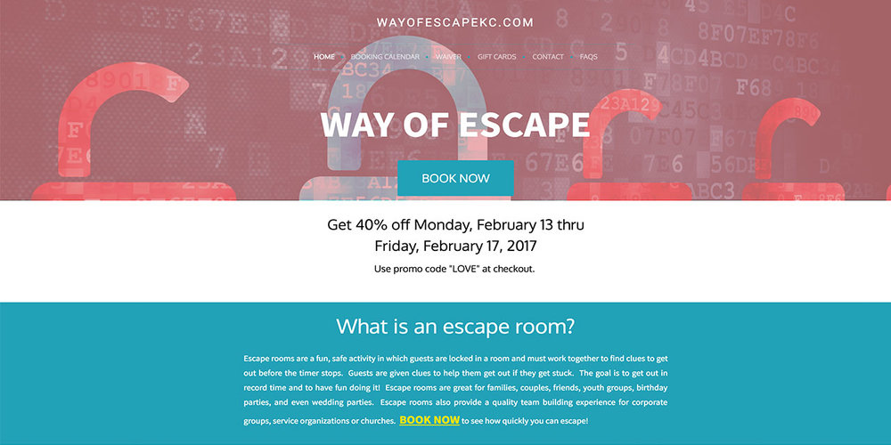 With online booking from ZOZI Advance, setting up custom promotional codes is a cinch. Here is one example from our friends at Way of Escape KC, who ran a special Valentine's promotion.