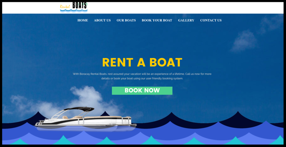 Our pals at Boracay Rental Boats have a nicely-placed CTA button that stands out. They also give it a tab in the navigation bar.