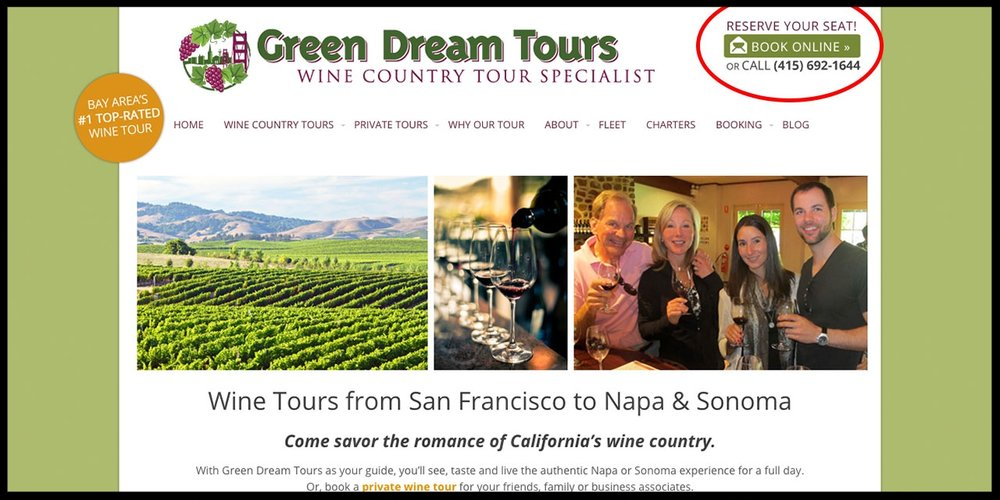 "Putting a nudge or ""click trigger"" near your CTA button, like our friends at Green Dream Tours, can help boost clicks."