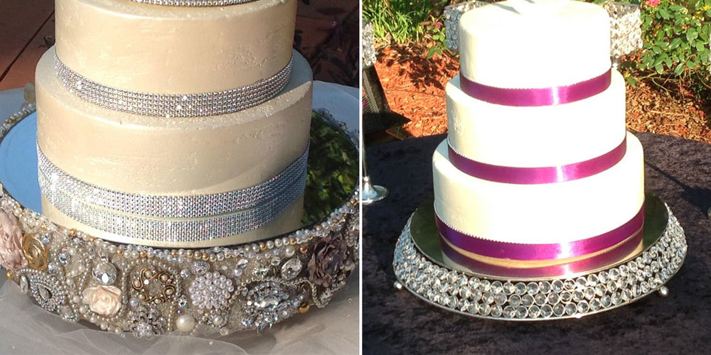 "Look at all the blingy bling on these cake stands! Elevate the Cake saw a market for this and went for it, pointing out that ""since hundreds of dollars are often spent on the cake, why have it displayed on cardboard, plastic, or nothing at all?"" Not only that, who wants to buy a cake stand if they're only going to use once?"