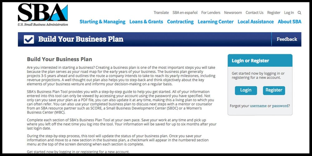 The U.S. Small Business Administration provides a free template tool for drafting a business plan.