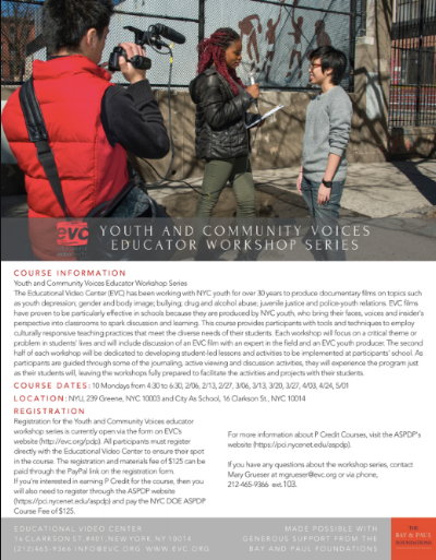 Edited EVC's Youth and Community Voices Educator Workshop Series -