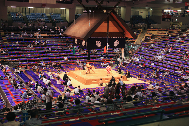 When we first got to the stadium. Initial bouts were filled with local sumo fighters. They are big dudes.