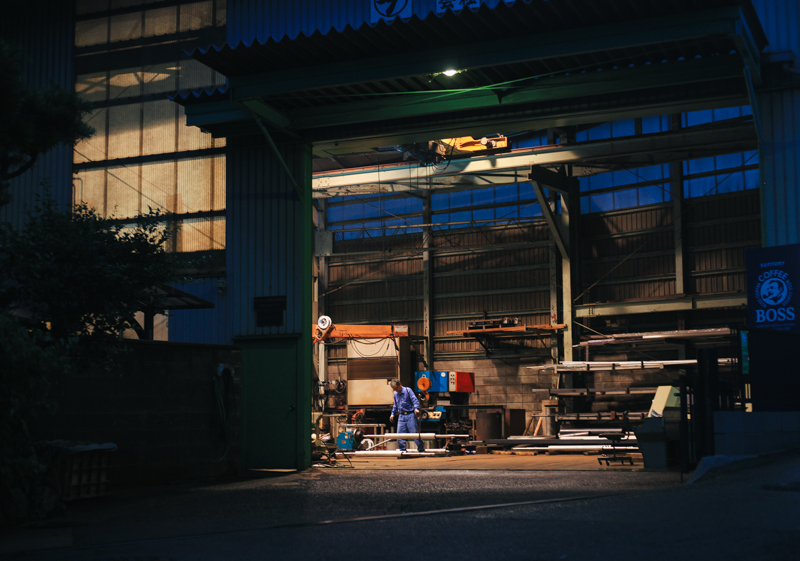 There's a manufacturing shop right outside our door. They were working well into the night. The Japanese work a lot...