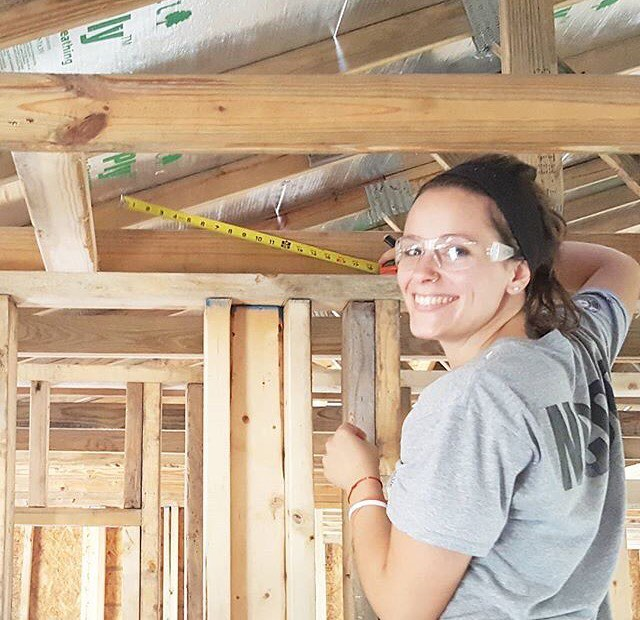 Cydney working on her first Habitat home!