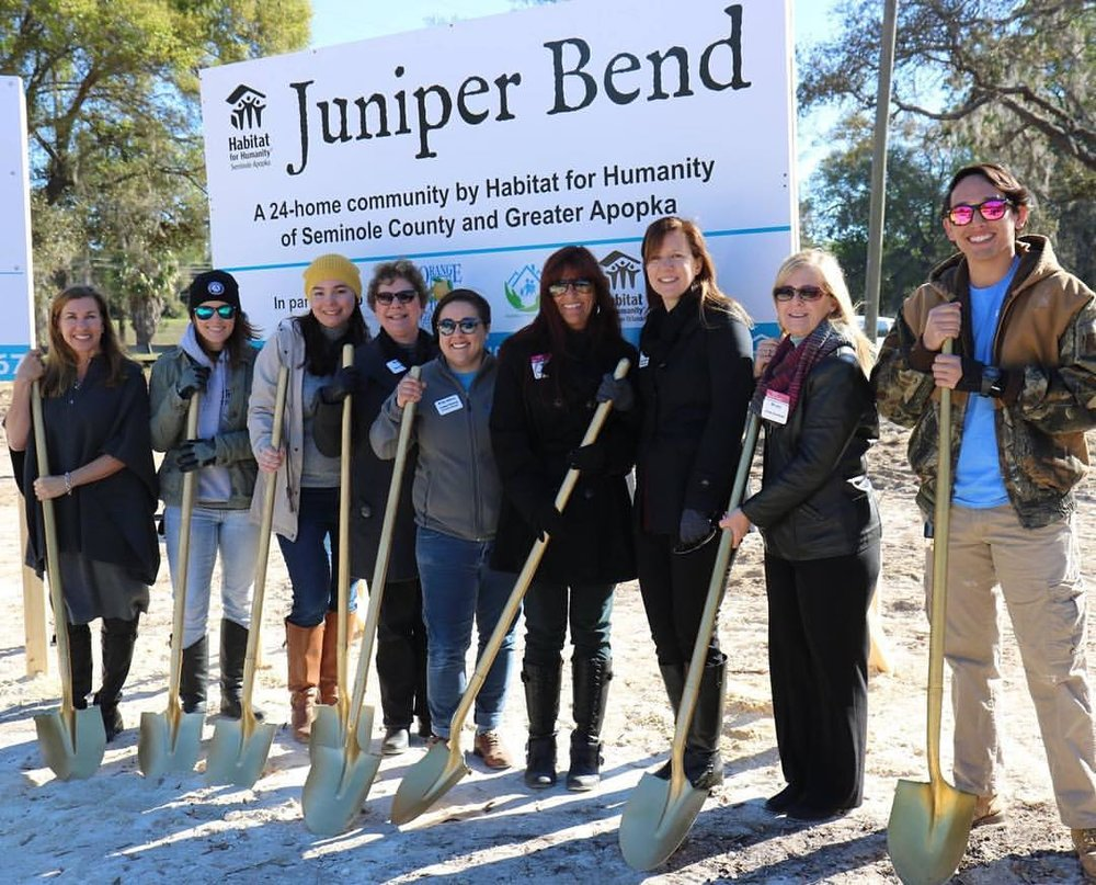 The entire Habitat team breaking ground on our largest project to date, Juniper Bend. Interested in volunteering on this development? Cydney is your girl! Her contact info can be found below.