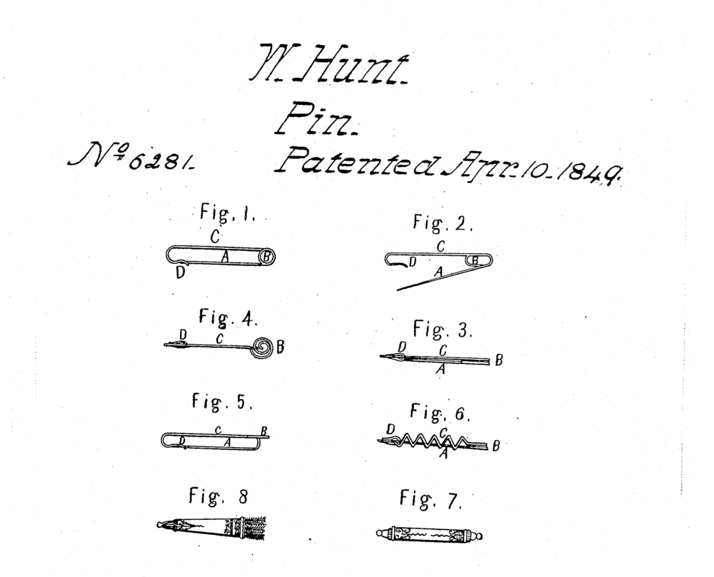 The patent for the contemporary standard safety pin, US Patent 6281.