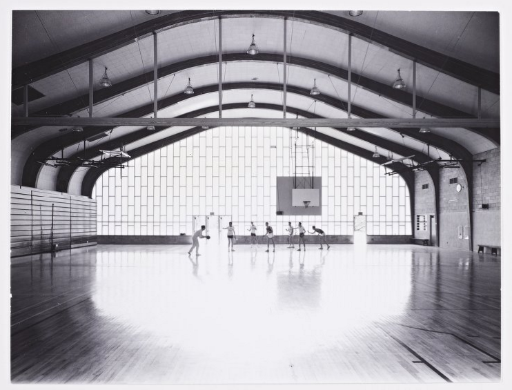 Litchfield High School gymnasium, designed by Marcel Breuer, 1953. Photo from the  Marcel Breuer Digital Archives .