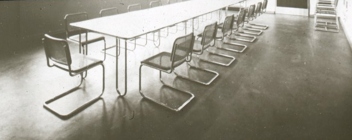 Tubular-steel chairs and conference table designed by Marcel Breuer. Photo from the Marcel Breuer Digital Archives.