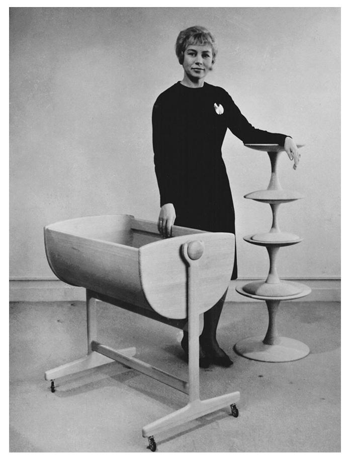 Ditzel posing with the Toadstools and the Lulu cradle. Photo via nanna-ditzel-design.dk.