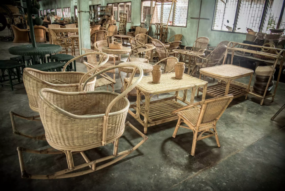 Baby cots, chairs, tables and other rattan products are on display at the Danlao factory in Vientiane Province, Laos.   Photo by ©Thippakone Thammavongsa / WWF-Laos via  wwf.exposure.co