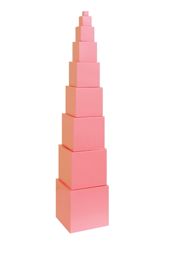 Pink Tower by Maria Montessori. Image via    kendalwoodmontessori.com