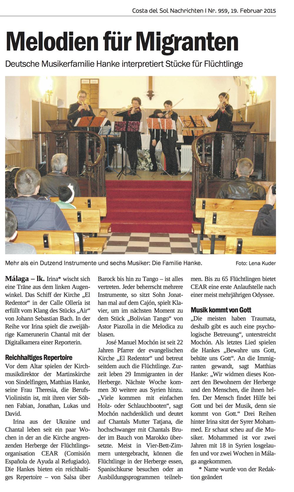 Zeitungsbericht zum Flüchtlingskonzert in Malaga