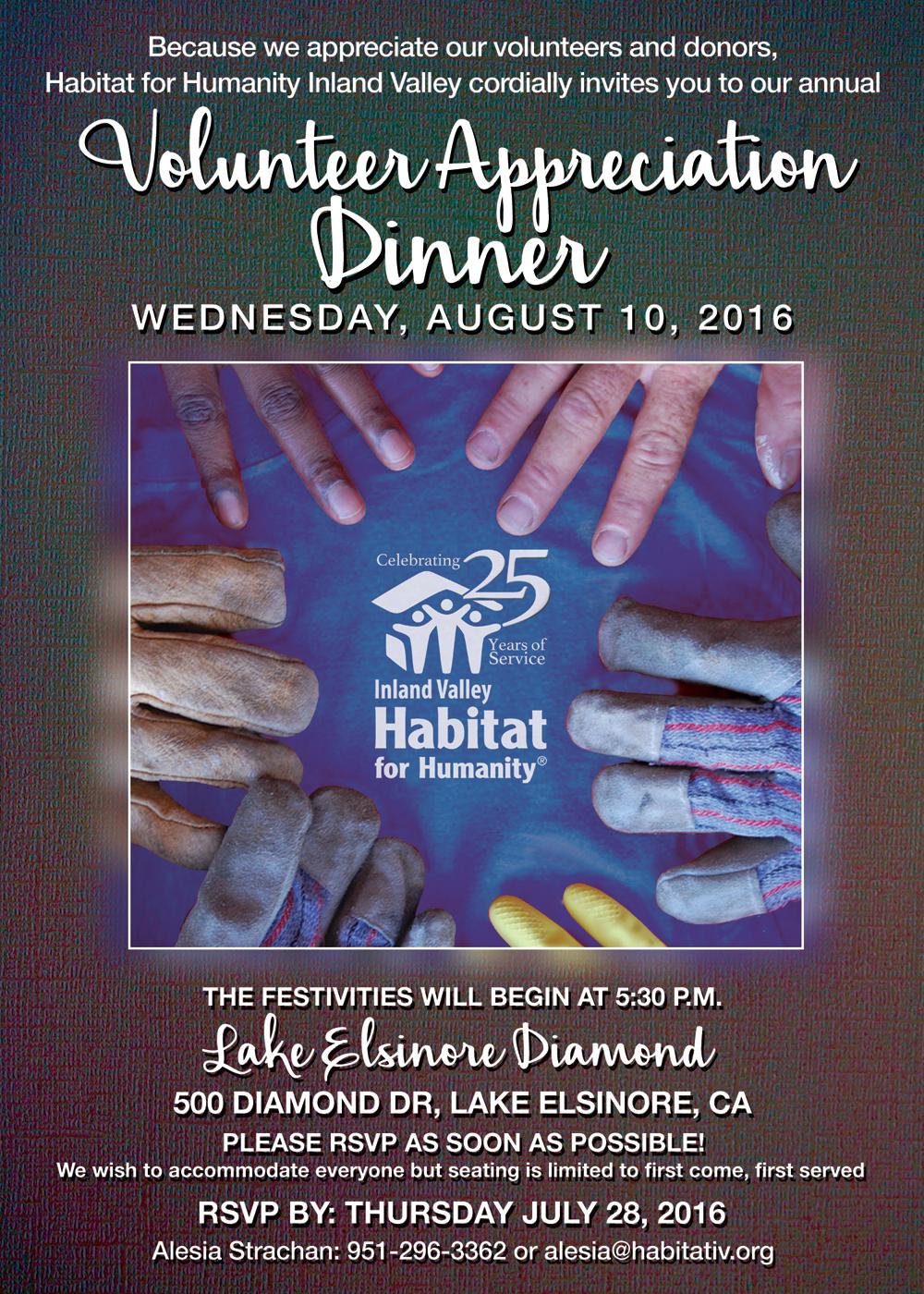 Volunteer Appreciation Dinner HABITAT FOR HUMANITY INLAND VALLEY
