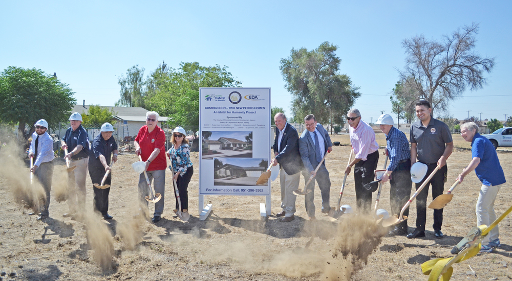 From left to right: Zack Wybert, 5th District Board Assistant; Craig Evans, HFHIV Board Member; Mervyn Manalo, Riverside County Economic Development Agency; Barry Busch, City of Perris Mayor; Tammy Marine, HFHIV Executive Director; Marion Ashley, 5th District Riverside County Supervisor; Jaime Hurtado, 5th District Riverside Chief of Staff; John Aguilar, Deputy Director County of Riverside; David French, HFHIV Board Member; Cesar Gomez, Representative from Assemblyman Jose Medina's Office; and HFHIV Board Member Liz Bibb. Photo by Stacey Savin