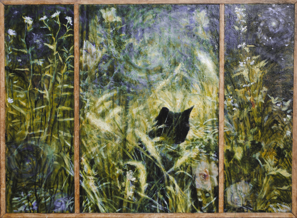 Norton's Garden  , oil and wax on panels, 20 x 26 in (triptych).