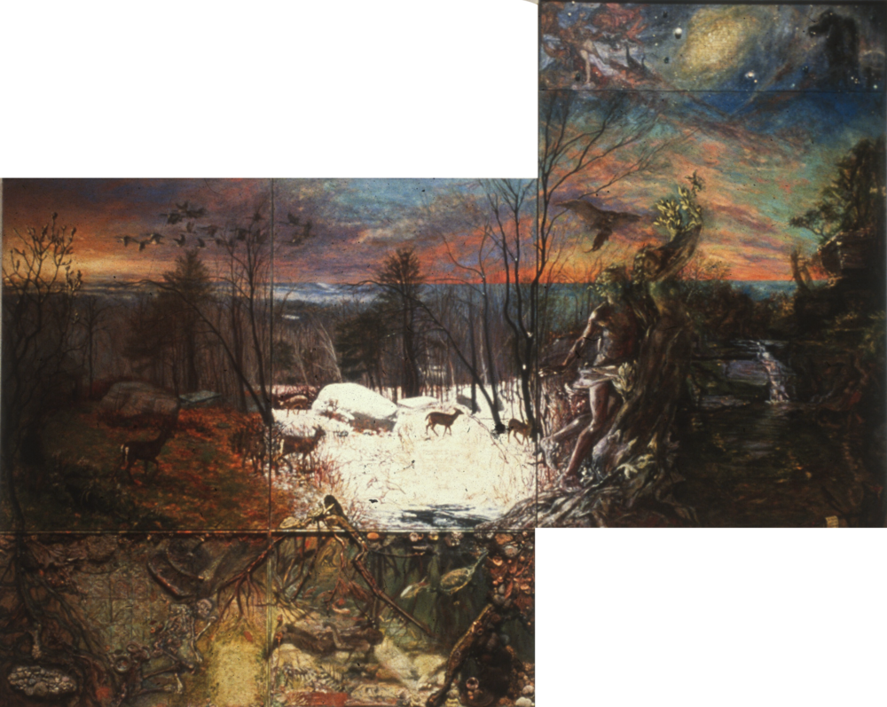 Changes  , oil and mixed media on linen and panels, 84 x 120 in.