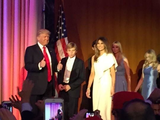 The Trump family takes the stage after Donald Trump's presidential win is announced. (Photo: Tim and Monique Breaux)
