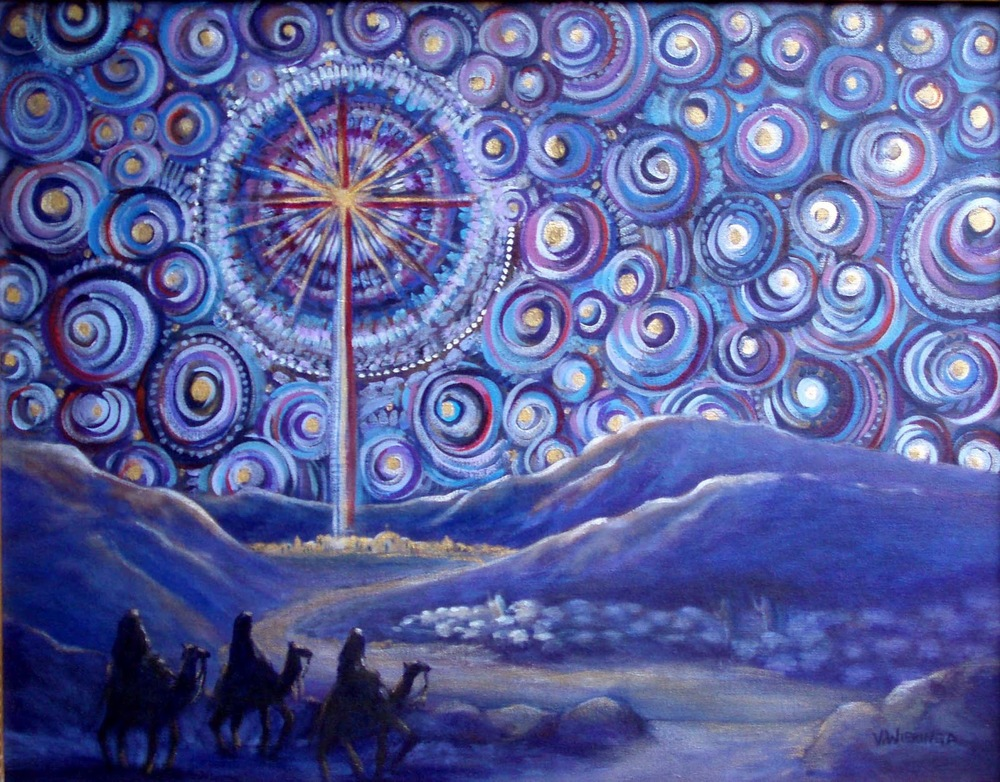 """Advent Starry Night"" by Virginia Wieringa, inspired by van Gogh's ""Starry Night."""