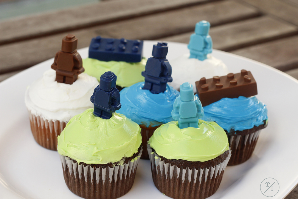 Turn any cupcake into a lego theme with chocolate molded figures and blocks.