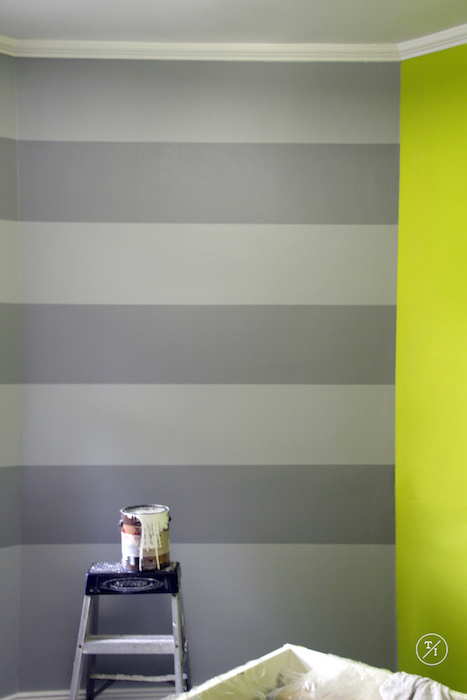 Grey Stripes: Valspar (dark Gray) Stone mason Gray. I used Frog Tape for prepping the stripes.
