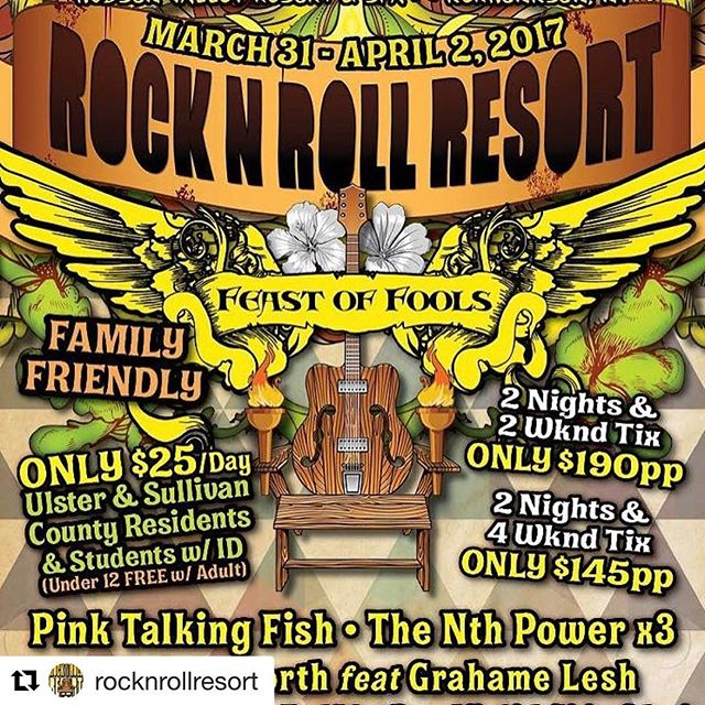 Who's ready for this years Rock n Roll resort!? We'll be rockin' a trio set alongside our good friends @thenthpower and @pinktalkingfish ! Buy tickets here: http://rrrtix.com/2kiBlor