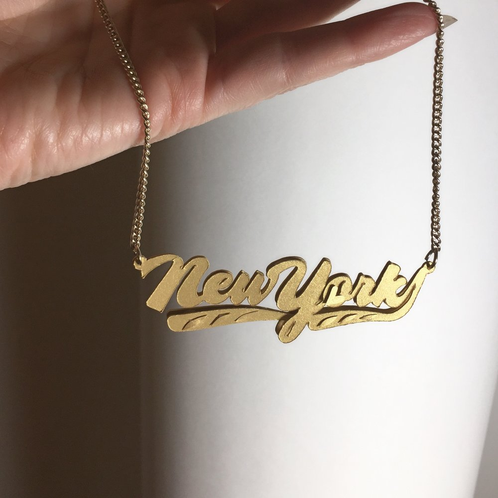 Papercraft New York nameplate necklace