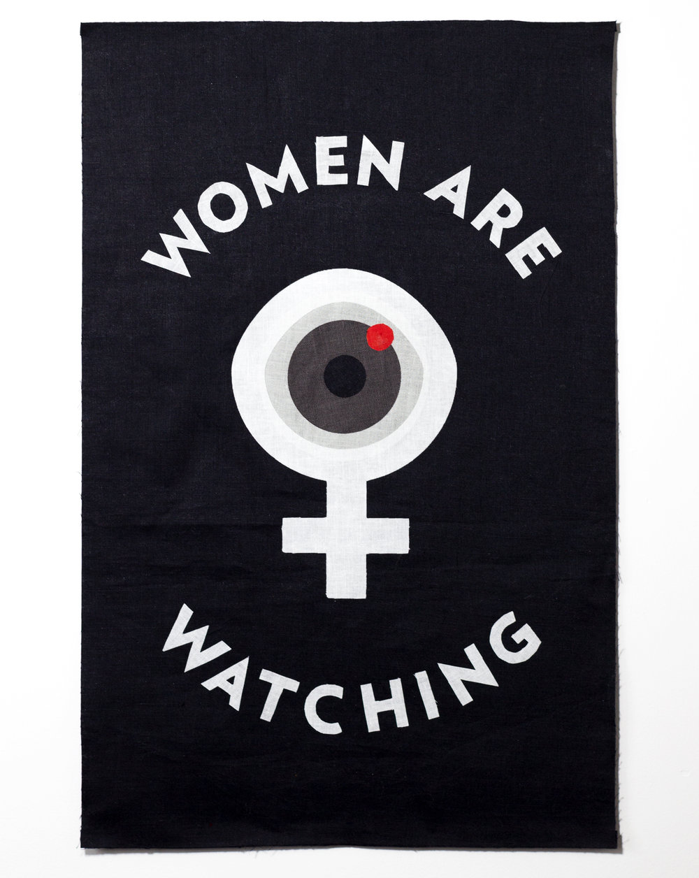 Fabric appliqué protest sign for the Women's March, January 21, 2016