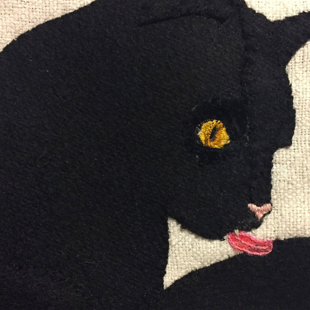 Kitty textile banner detail