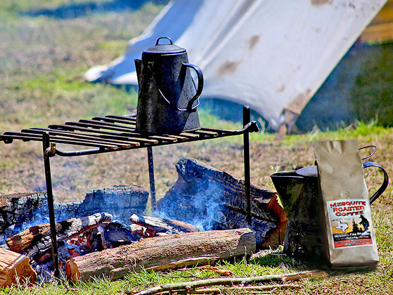 We roast our beans and brew our coffee over open mesquite fires.