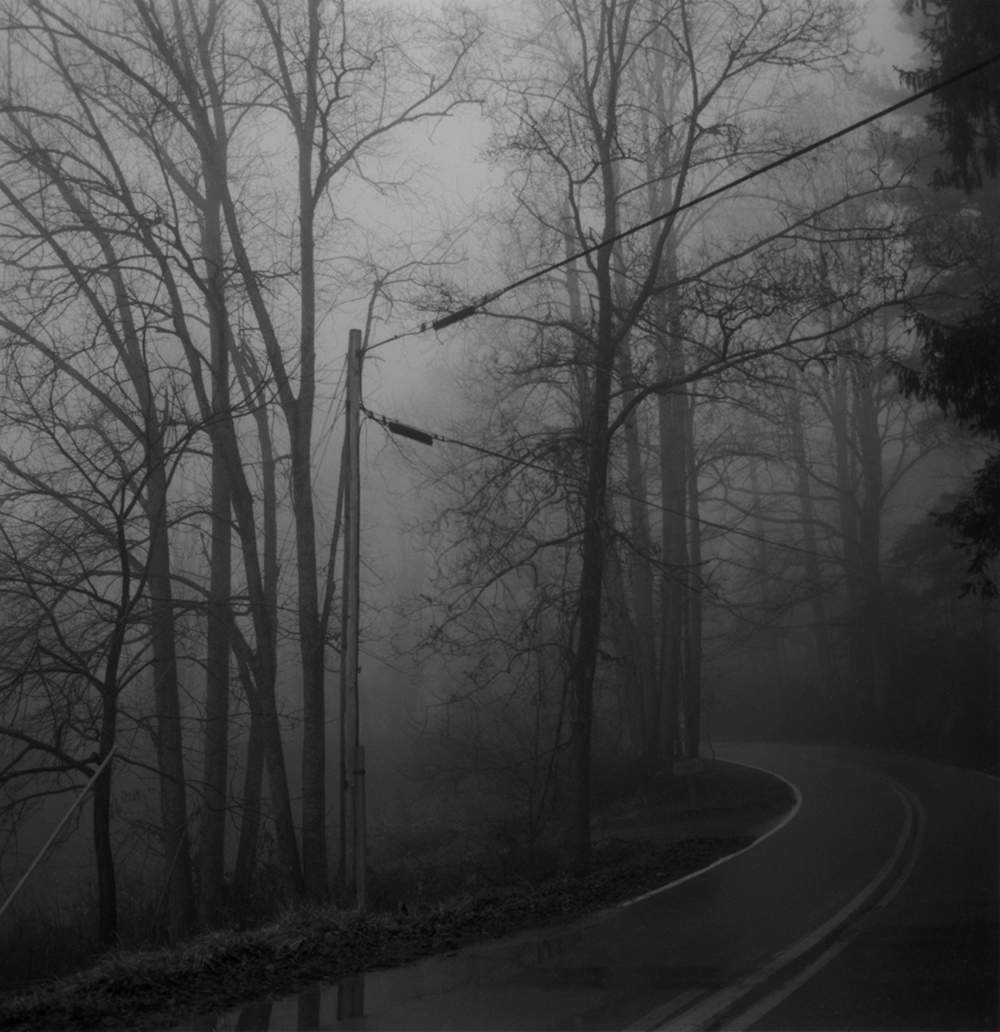 Foggy road at Penland at dusk.