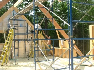 The start of 2 x 12 roof framing at the gable end.